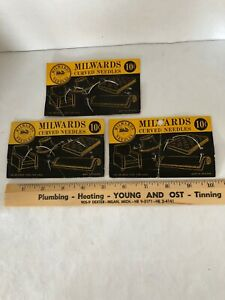3 Cards Milwards Curved Needles England Mattresses Rugs Upholstery 5 Needles