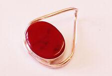 Red Jasper withTwist Slide Heavy Silver Pendant
