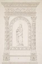 Gravure XIX° Normand Fils Eléments d'Architecture Sculpture Vierge