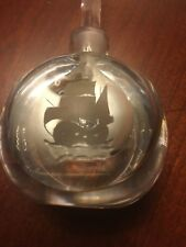 Orrefors maker signed Perfume w/ stopper etched Sailboat  art glass,hand blown
