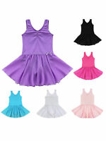 Kids Girls Ballet Dress Gymnastics Leotard Tutu Skirt Sleeveless Shiny Dancewear