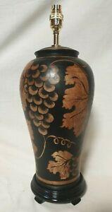 Handpainted Terracotta  Thai Grape Blossom Table Lamp Black