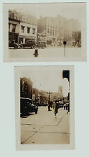 NICE LOT - 2 Snapshot Photos Geneva NY Street Scenes Theater Stores ca 1920s