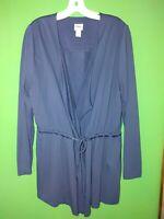 4587) NWOT CHICO'S ZENERGY 2 navy blue jersey knit light jacket tie waist new 2