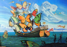 Boat with Butterflies * SALVADOR DALI * LARGE A3 SIZE QUALITY CANVAS ART PRINT