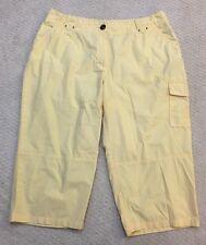 Dressbarn Plus Size 16W Yellow Shorts 100% Cotton Cargo Button Pocket Womens