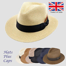 Straw Fedora Summer Sun Wide Brim Trilby Panama Style Packable Beach Holiday Hat