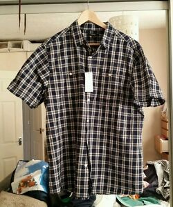 GEORGE NAVY WHITE CHECK SHIRT XL NEW