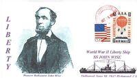 JOHN WISE Ship named: Civil War Balloon Pilot Cacheted Portrait Handstamped PM