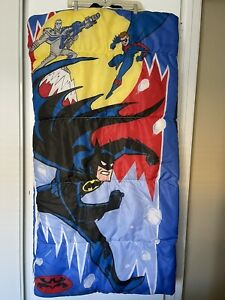 Vintage Batman Robin Mr. Freeze 1997 Kids DC Comics Kids Sleeping Bag Zip up