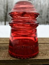 New ListingVintage Hemingray No 9 Glass Insulator Stained/Colored Bright Red