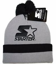Starter Cuffed Knit Bobble Pom Pom Winter Hat/Beanie/Toque  Gray/Black