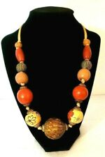 Fashion Jewelry Necklace Large Wooden Beaded Colorful Chunky Asian Art Style
