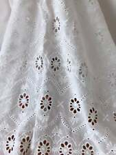 Vintage Style Embroidery Scalloped Cotton Floral Fabric Off White Eyelet Fabric