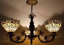 Tiffany Style Chandelier Vintage 3 Arms Hanging Light Handcrafted Stained Glass