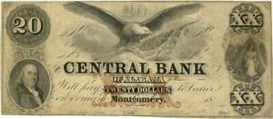 Alabama Central Bank $20 Dollars Obsolete Currency Banknote 1857