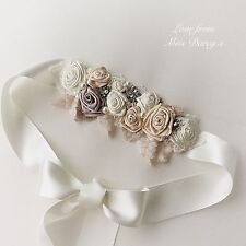 Bridal Sash Belt Waistband Ribbon Roses Ivory Champagne Diamante Wedding Brides