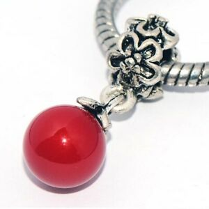 1x Red Pearl Dangle Bead Spacer Charm Fit Eupropean Chain Bracelet DIY Jewelry