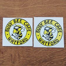 Two Motorcycle Biker Helmet Tank Cafe Racer Stickers BUSY BEE CAFE WATFORD bsa