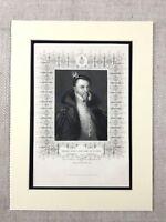 1854 Antik Aufdruck Thomas Radclyffe Geschichte Deputy Von Irland Earl Sussex