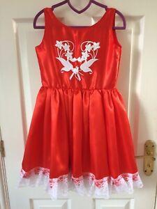 Handmade Girls Satin Red sleeveless Dress Age 4-5 years White motif & Lace trim