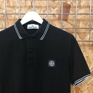 £125 Stone Island Tipped Badge logo Polo Shirt M MEDIUM SLIM FIT (S SMALL? patch