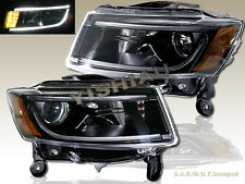 2014-2015 Jeep Grand Cherokee LED Strip Black Housing Projector Headlights NEW