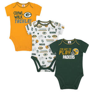 Green Bay Packers NFL Infant Boys' 3-Pack Short-Sleeve Bodysuits, 18 Months, NWT