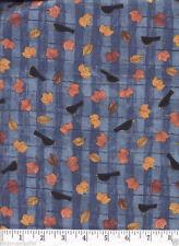Autumn Crows Blue Quilt Fabric - 3/4 Yard Piece