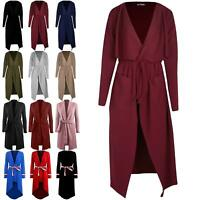 Womens Wrap Over Pocket Duster Trench Coat Ladies Tie Belted Midi Long Cardigan