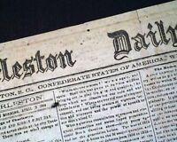 Confederate States of America CHARLESTON South Carolina Civil War 1864 Newspaper