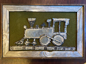 Rustic 3D Framed Metal Train Engine Burlap Rustic Wall Art Signed Maxie 1970s
