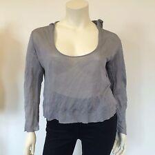 Oui Set Ladies Grey Raw Edge Thin Knitted Slack Loose Wrinkled Hoodie UK Size 12