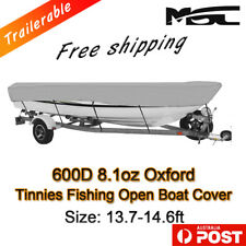 MSC 13.7-14.6ft 600D Marine Styled to fit Tinnies fishing boat cover grey