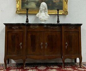 Antique French Burl Walnut Marble Top Serpentine Buffet Sideboard  C1890