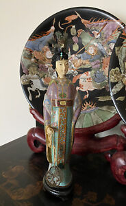Vintage Cloisonné Figure / Statuette of A Young Woman  14""