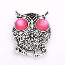 3DCrystal Owl Chunk Charm Snap Button Fit For Noosa Necklace/Bracelet NSKZ115