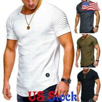 US Men Short Sleeve Slim Fit O-Neck Muscle Tee T-shirt Casual Plain Tops Blouse