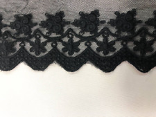 "4"" Wide Black Embroidered Tulle Scalloped Venice Lace Trim ST"