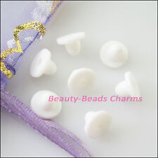 200Pcs Plastic White Flat Back Stopper Earring Back Earnut Connectors 8mm