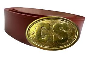 "CS American Civil War Union Confederate Army Brown Leather Waist Belt  Size 48"""