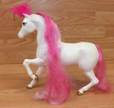 """Unbranded 10"""" (Inch) Doll Size White Plastic Horse With Pink Feathers on Head"""