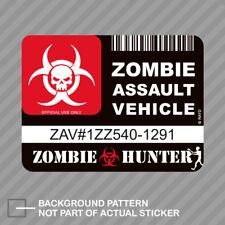 Zombie Assault Vehicle License Sticker Decal Vinyl Apocalypse