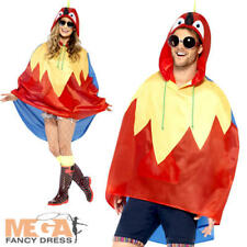 Parrot Party Poncho Fancy Dress Festival Bird Animal Mens Womens Costume Outfit