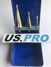 US PRO 3pc HSS Passo Trapano Tool Set 4mm a 32mm CONO Cutter Hole Saw 2604