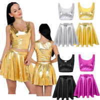 Women Wet Look Stretch Mini Skater Skirt Shorts Two Piece Crop Top Dance Party