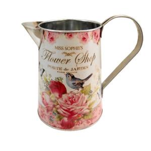 Metal Jug Artificial Flower Vase Bluebird Pink Rose Butterfly Flower Shop 15cm