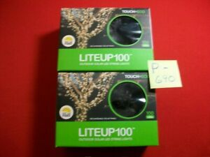 BRAND NEW 2-SETS TOUCH OF ECO SOLAR POWER 100-LED STRING LIGHTS 35.8 FT EACH EXC