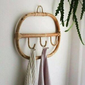 Nordic Vintage Rattan Wall Hooks Clothes Hat Hanging Hook Crochet Hangers Home