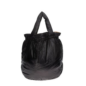 Puffer Tote Bag Black Two Handles Slouchy Design